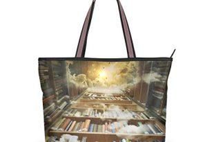 Ahomy Damen Strandtasche, Sonnenhimmel, Bücherregal, Blumenmuster, große Schultertasche für Damen, Mehrfarbig - multi - Größe: L