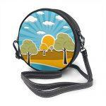Damen Schultertasche/Umhängetasche, Retro-Stil, mit Wolken, Sonnenhimmel und Bäumen
