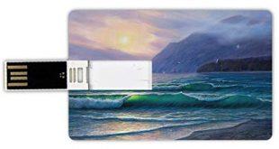 USB Sticks 64GB Kreditkartenform Natur Memory Stick Bankkartenstil Meereswogen morgens ein Sonnenhimmel 310x165 - USB-Sticks 64GB Kreditkartenform Natur Memory Stick-Bankkartenstil Meereswogen morgens ein Sonnenhimmel über Gebirgsnebeliger Horizont-surrealer Landschaft,lila Knickente Wasserdichte stift daumen sch