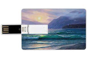 USB-Sticks 64GB Kreditkartenform Natur Memory Stick-Bankkartenstil Meereswogen morgens ein Sonnenhimmel über Gebirgsnebeliger Horizont-surrealer Landschaft,lila Knickente Wasserdichte stift daumen sch