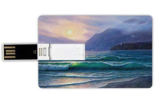 USB Sticks 64GB Kreditkartenform Natur Memory Stick Bankkartenstil Meereswogen morgens ein Sonnenhimmel 500x330 - USB-Sticks 64GB Kreditkartenform Natur Memory Stick-Bankkartenstil Meereswogen morgens ein Sonnenhimmel über Gebirgsnebeliger Horizont-surrealer Landschaft,lila Knickente Wasserdichte stift daumen sch
